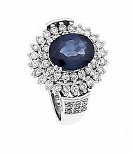 Saphir-Brillant-Ring WG 585/000 ungest., gepr., mit einem oval fac. Saphir