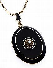 Orientperlen-Emaille-Medaillon Gold ungest., gepr., ca. 1880 zum Öffnen mit