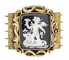 Kastenschließe Gold GG 585/000 ungest., gepr. um 1850 mit Malerei unter Gla