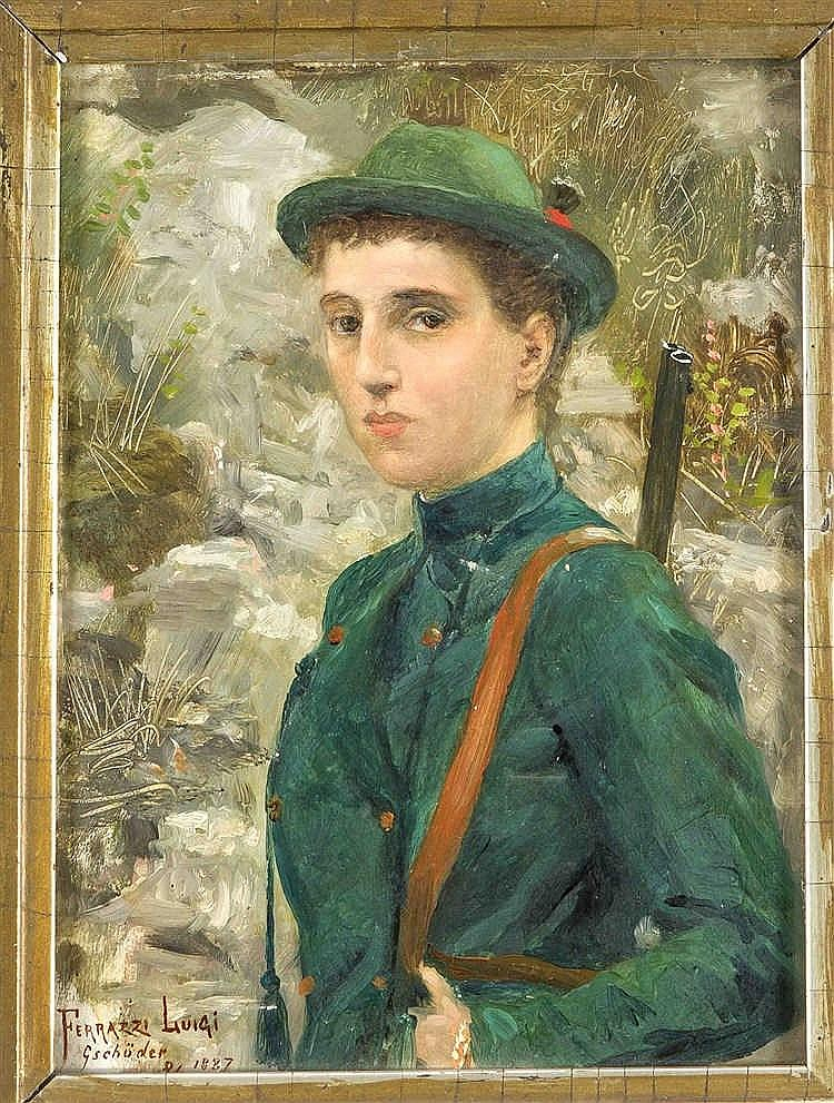 Luigi Ferrazzi (XIX-XX), ital. Bildnismaler, 'Portrait einer jungen Jägerin
