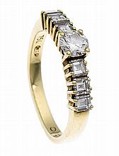 Brillant-Ring GG 750/000 mit einem Brillanten 0,31 ct W/VS und 6 Diamant-Ca
