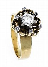 Brillant-Ring GG/WG 750/000 mit einem Brillanten 0,60 ct W/SI und Diamanten
