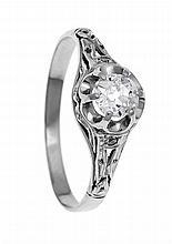 Altschliff-Diamant-Ring WG 585/000 mit einem Altschliff-Diamanten 0,50 ct T