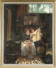 Sign. Daniel, dt. Maler 2. H. 19. Jh., zwei Hausmädchen halten inne und bet