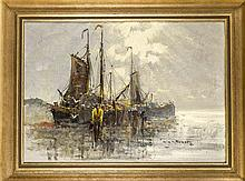 Marinemaler Anfg. 20 Jh., Fischerboote am Strand, Öl/Lwd., unleserl. sign.