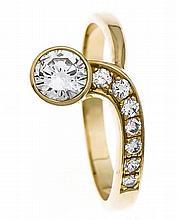 Brillant-Ring GG 585/000 mit einem Brillanten 0,50 ct W/VS und Brillanten,