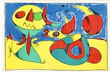 Joan Miro (1893-1983), zwei Farblithographien aus Derrière le Miroir 1956,