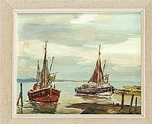 Paul Ernst Wilke (1894-1972), Fischerboote, Öl/Hartfaser, u. re. sign., 24