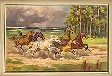 Sign. G. Rozmus, wohl polnischer Maler 2. H. 20. Jh., galoppierende Wildpfe