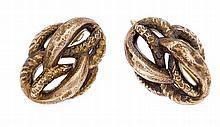 Schaumgold-Ohrringe ca. 1860, Unterseite Gold, L. 26 mm, 5,3 g