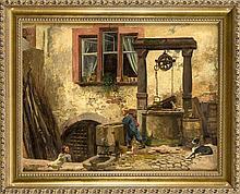 Sign. Reichenweier, Genremaler 2. H. 19. Jh., Junge mit Hund am Hofbrunnen,