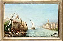 Sign. Costa, Ende 19. Jh., italienische Hafenstadt mit Fischern, Öl/Lwd., u