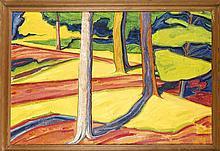 Sign. Nordun, expressive Landschaft im Stile der Fauvisten, Öl auf dickem M