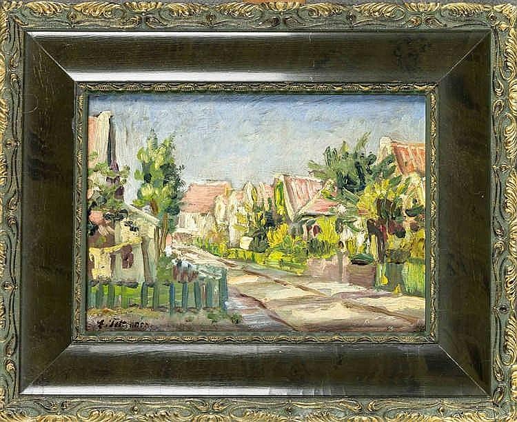 Erich Tettenborn (1892-1971), Berliner Maler, sommerliche Strassenszene, Öl