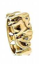 Elefanten-Diamant-Ring GG 750/000 ungest., gepr., mit Diamanten, B. 10 mm,