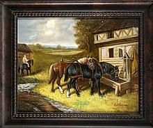 Sign. Gerlovina, Maler d. 21. Jh., Pferde an der Tränke, Öl/Sperrholz, u. r