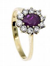 Rubin-Brillant-Ring WG 585/000 mit einem oval fac. Rubin 7 x 5 mm in sehr g