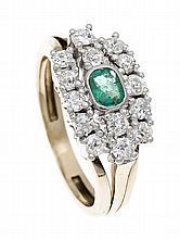 Smaragd-Altschliff-Diamant-Ring GG 750/000 mit fac. Smaragd 4 x 3 mm in gut