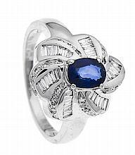 Saphir-Brillant-Ring WG 750/000 mit einem feinen oval fac. Saphir 0,88 ct i