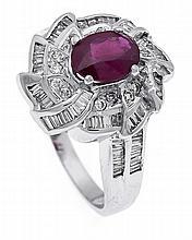Rubin-Brillant-Ring WG 750/000 mit einem feinen oval fac. Rubin 0,99 ct in