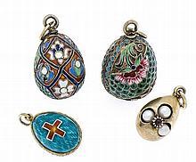 Konvolut 4 Emaille-Anhänger Russland, Silber 88 und 84 Silber vergoldet mit
