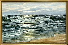 Sign. Huismann, Marinemaler 2. H. 20. Jh., Meeresbrandung mit Möwen im Aben