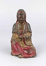 Buddha, buddhistische Plastik unbestimmten Alters, wohl Bronze mit mehrfarbiger, originaler Fassung, recht dickwandiger Hohlguss mit beschwerenden Schlackeresten, kleiner Ausbruch am hinteren Stand (Teile vorhanden), H. 17 cm