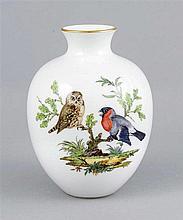 Vase, Meissen, um 1980, 1. W., bauchige Form, polychrome Malerei mit Eule u