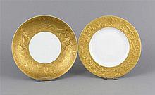 Zwei Teller, Rosenthal, nach 1961, aus dem Service Zauberflöte, Entwurf Bjö