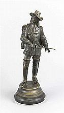 Charles Anfrie (1833-1905), Musketière, patinierte Bronze, im Stand sign.,