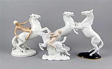 Vier Pferdefiguren, 20. Jh., Amazone auf Pferd, Schaubach, Unterweissbach,