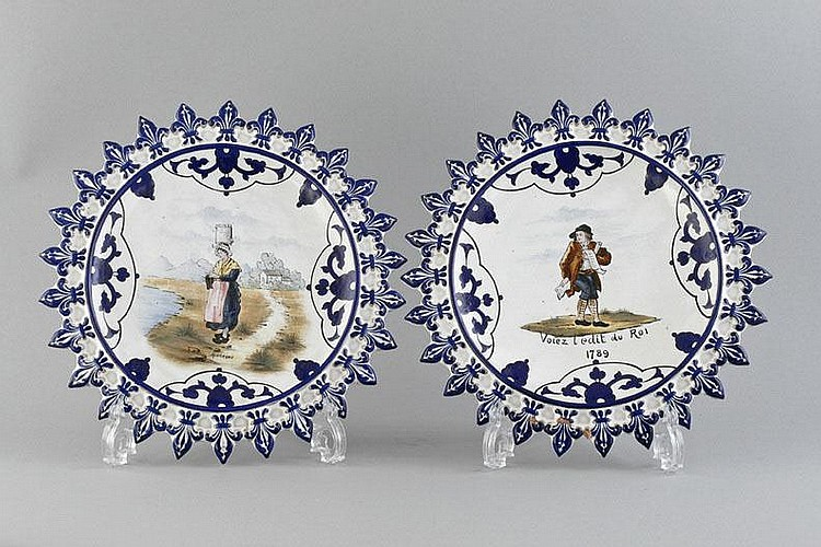 Few ceramic plates, Herbiniere Tours, 20 Century,