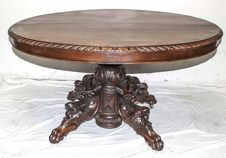ovaler tisch um 1880 eiche massiv furniert vier geschnitzt. Black Bedroom Furniture Sets. Home Design Ideas