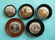 Tria Juncta in Uno (164), possibly without flange, Shells (52B) Pegwell Bay 1760 (25) Albert Memorial (191) and Rifle Contest (224) each framed (5)  (pot lid, pot lids, potlid, potlids, prattware)