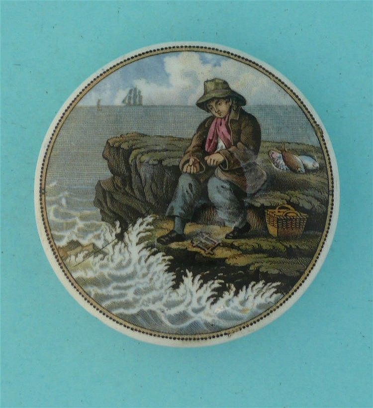 The Fisher Boy (341)    pot lid, pot lids, potlid, potlids, prattware