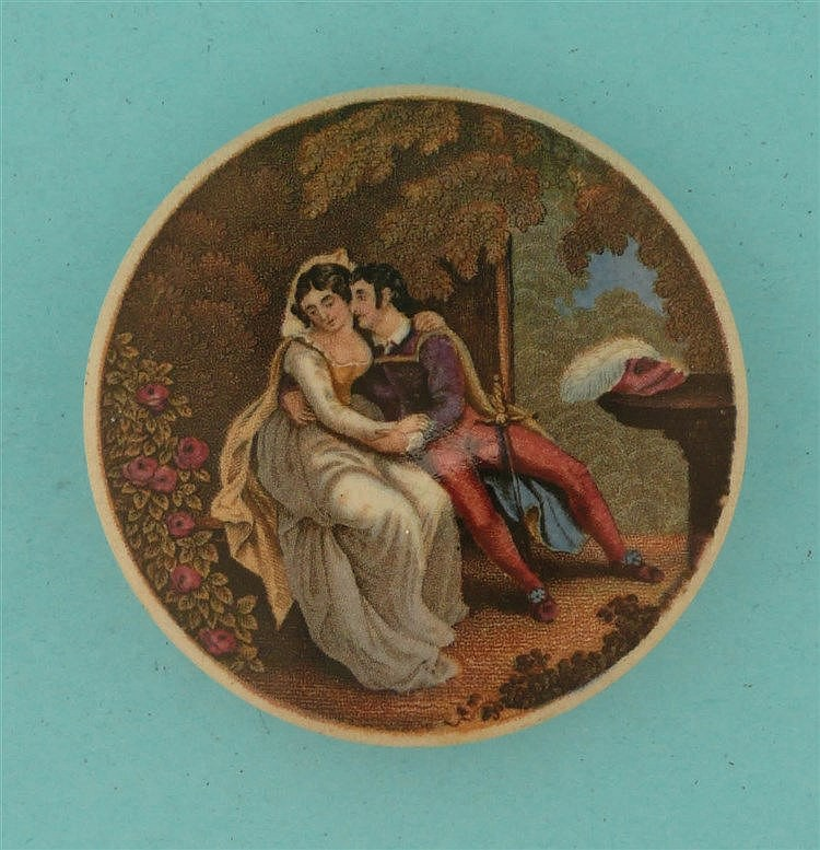 The Lovers (119) pot lid, pot lids, potlid, potlids, prattware