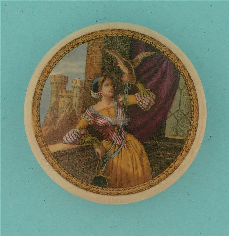 Lady with Hawk (106) pot lid, pot lids, potlid, potlids, prattware