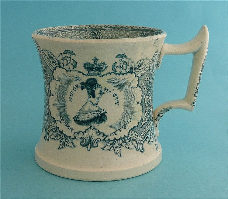 Queen Victoria: a pottery mug the waisted body printed in green with a name