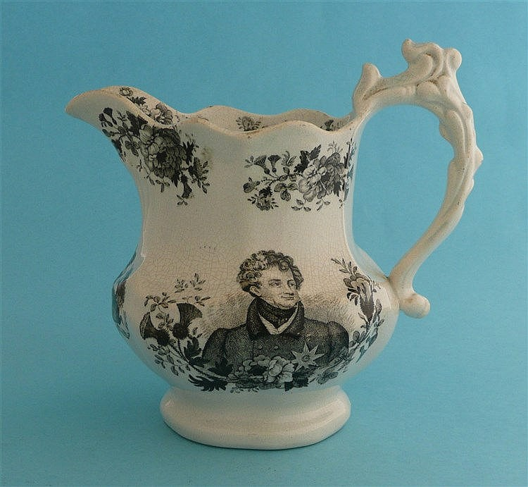 1830 George IV in memoriam: a lobed pottery jug by Goodwin Bridgwood Harris