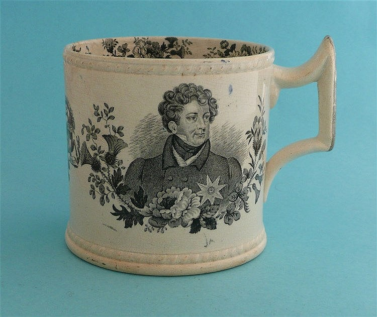 1830 George IV in memoriam: a cylindrical mug printed in black with portrai