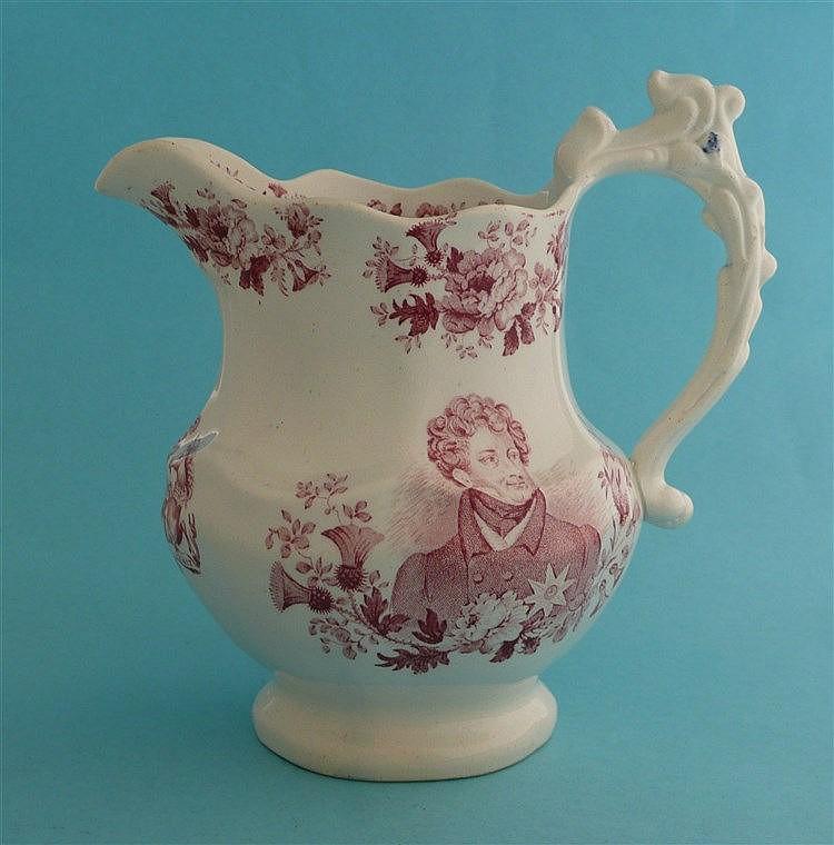 1830 George IV in memoriam: a lobed pottery jug by Goodwin Bridgwood Harris