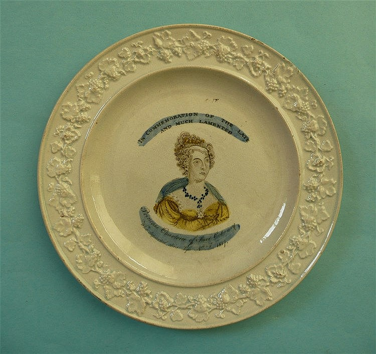 1821 Caroline in memoriam: a pearlware nursery plate by Stevenson with moul