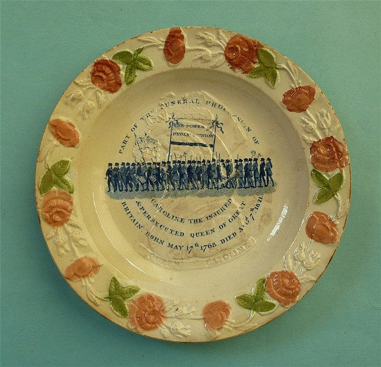 1821 Caroline in memoriam: a nursery plate moulded with a pink and green fl