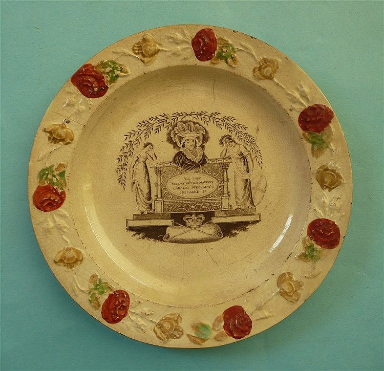 1821 Caroline in memoriam: a nursery plate with enamelled florally moulded
