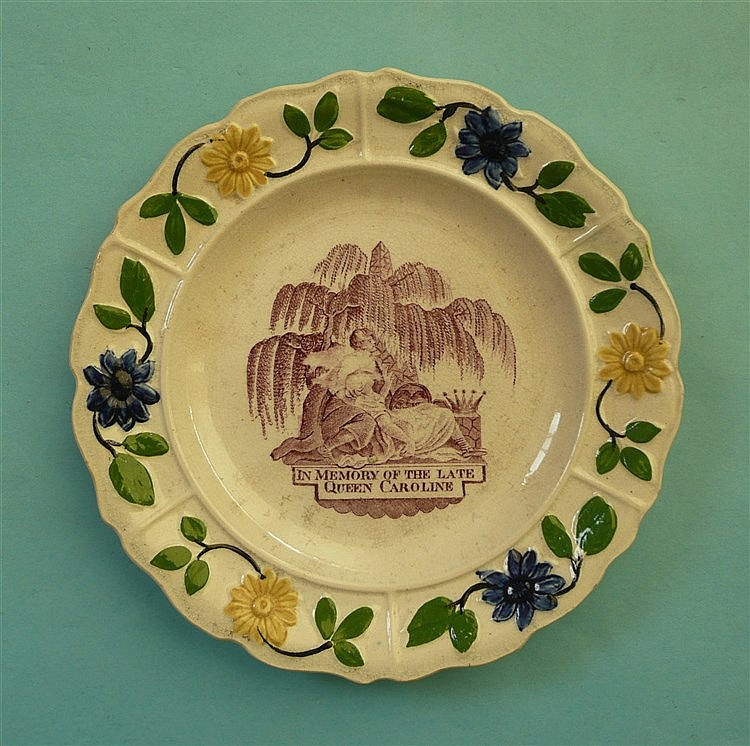 1821 Caroline in memoriam: a nursery plate with colourful moulded floral bo