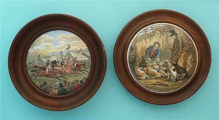 A Race (257) and The Game Bag (260) both framed (2)    pot lid, pot lids, p