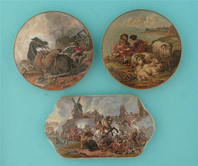 War after Wouvermann (212) War (219) and Peace (220) (3)    pot lid, pot li