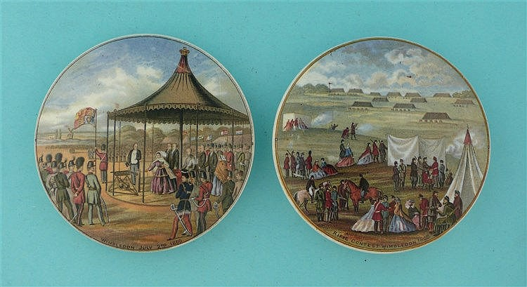 Wimbledon 1860 (223) and Rifle Contest 1868 (224) (2) pot lid, pot lids,