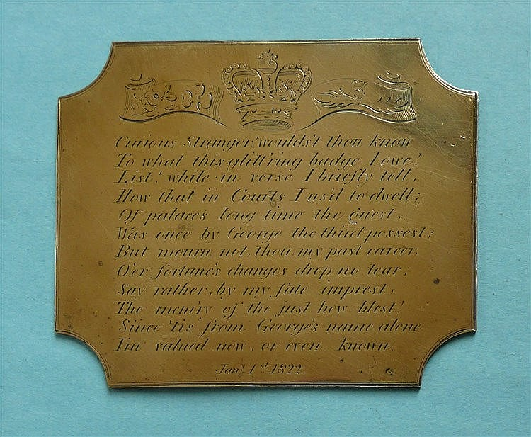 An interesting brass plaque engraved with twelve lines of verse dated Janua