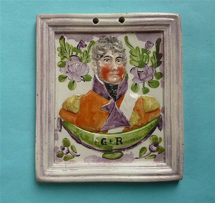 George IV: a good rectangular plaque moulded with a portrait and integral f